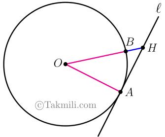 شعاع دایره در نقطه تماس بر خط مماس عمود است